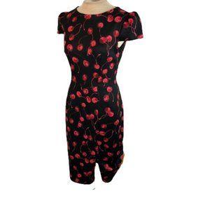 Betsey Johnson Cherry Print Pinup Pencil Dress